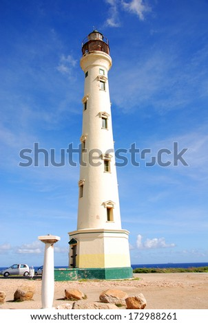 The California Lighthouse located on the West shore of the Dutch island of Aruba - stock photo