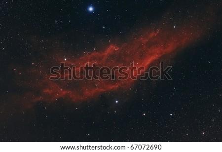 The California Nebula, NGC 1499, A Bright Nebula in Perseus - stock photo