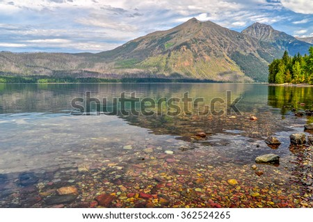 The calm waters of McDonald Lake in Glacier National Park, Montana.