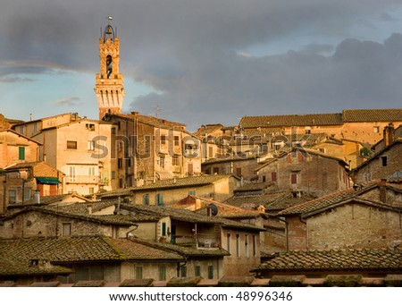 The campanile tower and old town in Siena, Italy.  The ancient tile-roofed houses, with their shuttered windows are bathed in the golden light of late afternoon. - stock photo