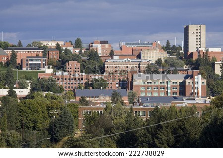 The campus of Washington State University in Pullman, Washington - stock photo
