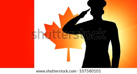 The Canadian flag and the silhouette of a soldier's military salute - stock photo