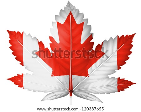 The Canadian flag painted on  cannabis or marijuana leaf - stock photo