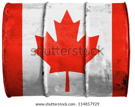 The Canadian flag painted on  oil barrel - stock photo