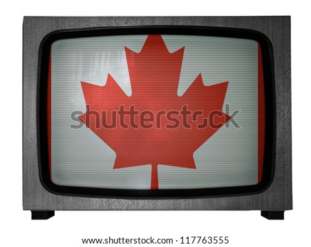 The Canadian flag painted on  old TV - stock photo