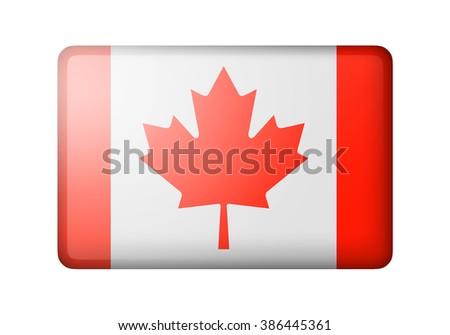 The Canadian flag. Rectangular matte icon. Isolated on white background. - stock photo