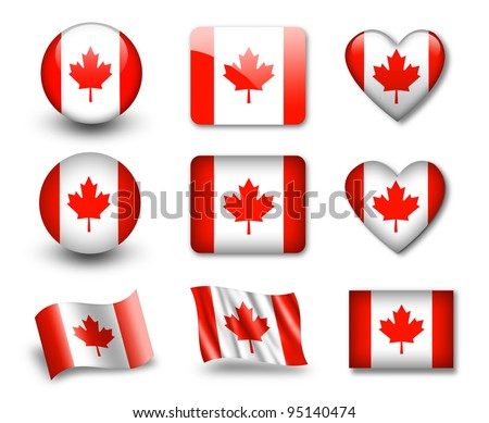 The Canadian flag - set of icons and flags. glossy and matte on a white background. - stock photo