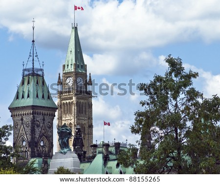 The Canadian Parliament featuring the East and Centre Block towers. - stock photo