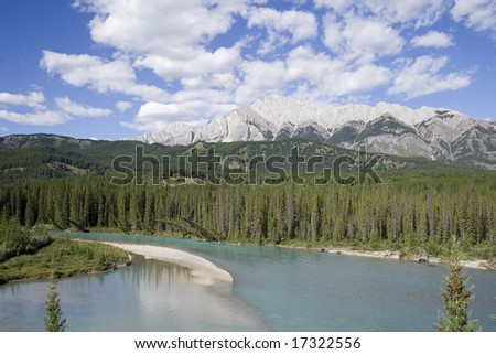 The Canadian Rockies, as viewed in Jasper Park.