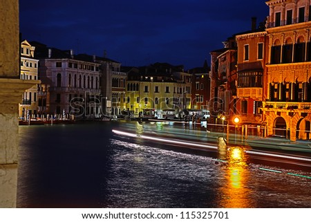 The Canal Grande in the night in Venice, Italy - stock photo