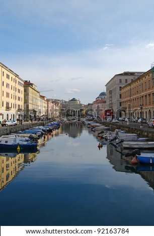 The Canal Grande with the Sant'Antonio Nuovo church background in Trieste, Italy. - stock photo