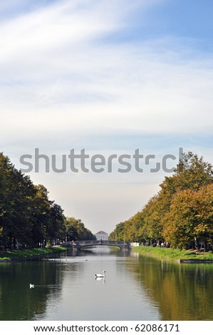The canal leading to the baroque palace of Nymphenburg in Munich, Germany.