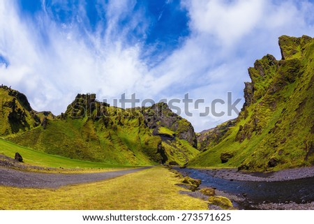 The canyon Pakgil is located among fantastic rocks. On bottom of canyon  fast shallow stream flows. Summer blossoming Iceland.The photo was taken Fisheye lens - stock photo