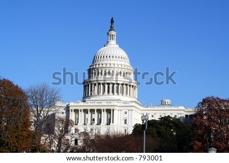 The capital in Washington, DC on a bright fall day. - stock photo