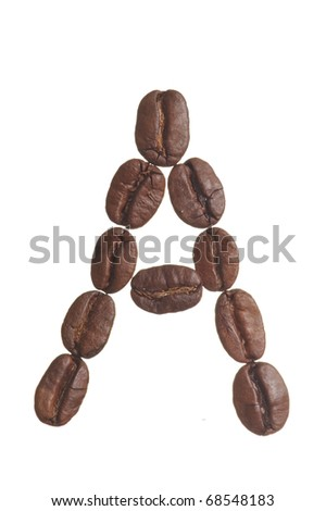 The capital letter A spelled in coffee beans, isolated on a white background. Macro resolution.