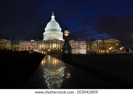The Capitol at night - Washington D.C. United States of America  - stock photo
