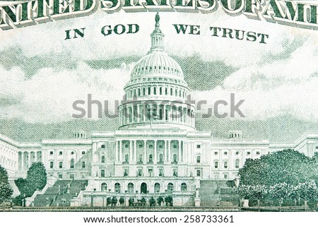 The Capitol Building as depicted on the U.S. $50 Dollar Bill. - stock photo