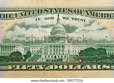 The Capitol Building as depicted on the US $50 Dollar Bill - stock photo