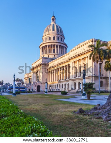 The Capitol building at morning with sunlight,  Havana - stock photo