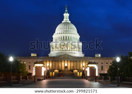 The Capitol Building at night in Washington DC - United States  - stock photo