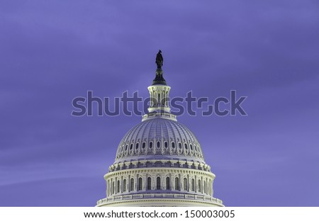 The Capitol Building dome - detail, Night, Washington, DC, USA. - stock photo