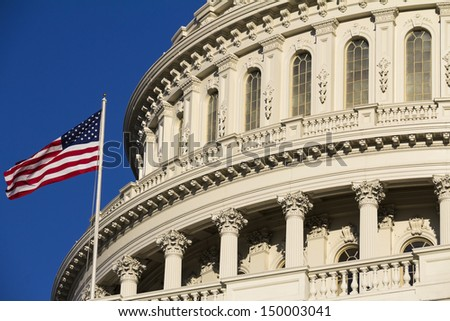 The Capitol Building Dome - Detail, Washington, DC, USA. - stock photo