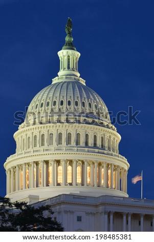 The Capitol dome at night - Washington D.C. USA - stock photo