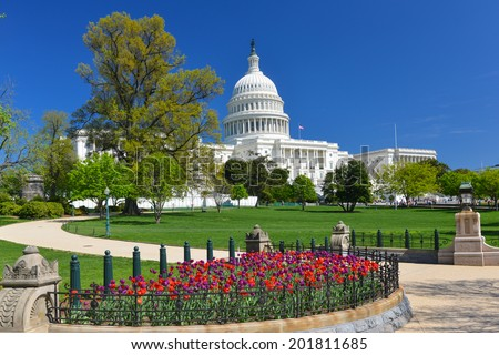 The Capitol in Spring - Washington D.C. United States - stock photo