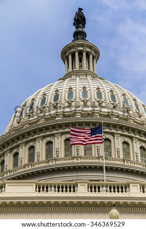 The Capitol of the US in Washington, view at daytime - stock photo