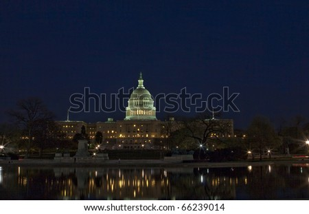 The Capitol of the USA at night
