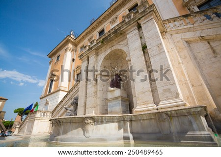 The Capitoline Hill in Rome at dusk - stock photo