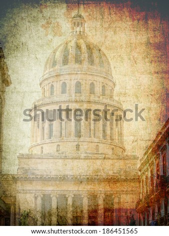 The capitolio in Havana, Cuba has been built in 1929 as a replica of the capitol in Washington - stock photo