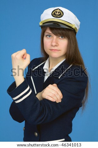 The captain of a female with emotional gesture - stock photo