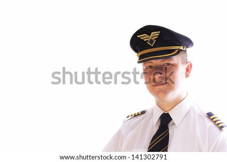 The captain of the aircraft on a white background - stock photo