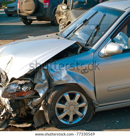 The car accident on street of Ufa city - stock photo