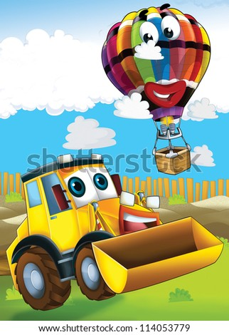The car and the flying machine - illustration for the children