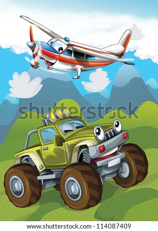 The car and the flying machine - illustration for the children - stock photo