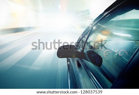 The car in night motion blur. - stock photo