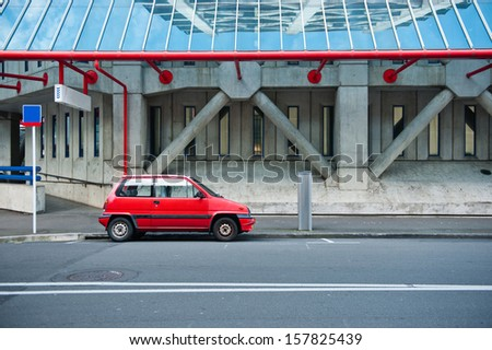 The car in red - stock photo