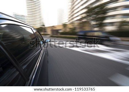 The car moves at great speed - stock photo