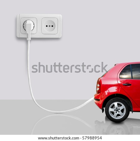 The car on a white background. - stock photo