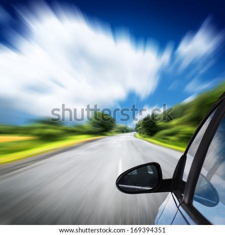 the car on the road with motion blur background