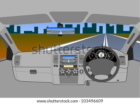 The car without a driver on the road. - stock photo