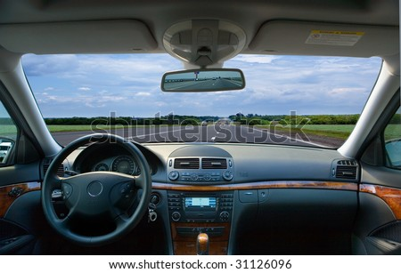 The car without the driver on highway - stock photo