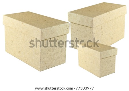 the cardboard box with lid closed  isolated on white - stock photo