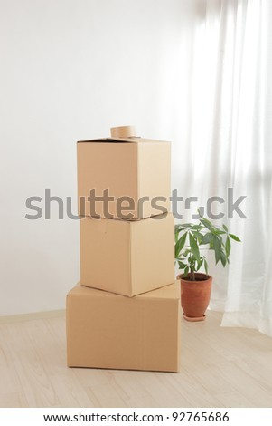 The cardboard boxes stacked in the room