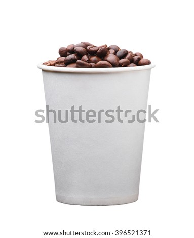 the cardboard disposable cup with coffee isolated on white background - stock photo