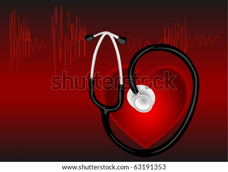 The cardiogram of red color on red background with heart