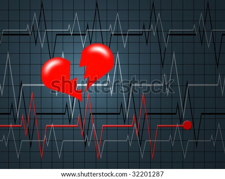 The cardiogramme of heart in the form of the monitor - stock photo