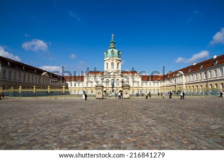 The Carlottenburg Palace in Berlin with tourists, Germany - stock photo